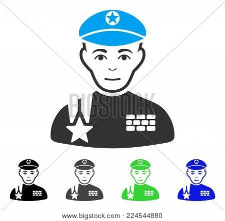Happy Army General vector icon. Vector illustration style is a flat iconic army general symbol with grey, black, blue, green color versions. Person face has positive mood.