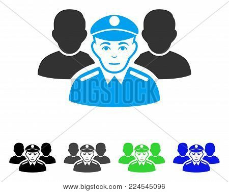 Joyful Army Team vector pictogram. Vector illustration style is a flat iconic army team symbol with gray, black, blue, green color versions. Person face has positive sentiment.
