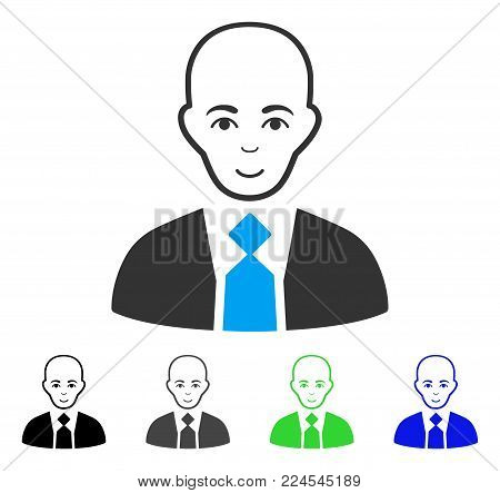 Enjoy Bald Boss vector pictogram. Vector illustration style is a flat iconic bald boss symbol with gray, black, blue, green color versions. Person face has joy expression.