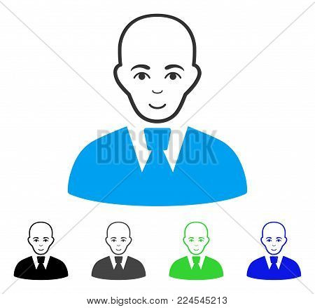 Enjoy Bald Clerk vector icon. Vector illustration style is a flat iconic bald clerk symbol with gray, black, blue, green color variants. Person face has cheerful expression.