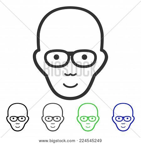 Happiness Bald Head vector pictogram. Vector illustration style is a flat iconic bald head symbol with gray, black, blue, green color versions. Human face has enjoy sentiment.