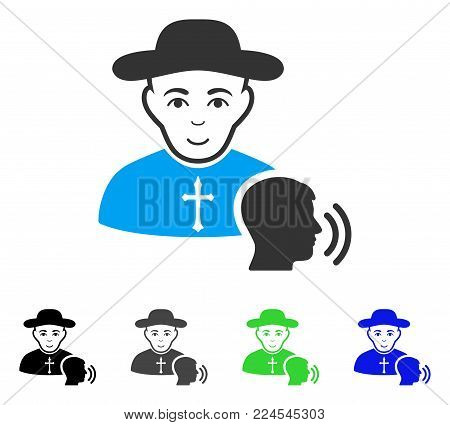 Joy Believer Confession vector pictogram. Vector illustration style is a flat iconic believer confession symbol with grey, black, blue, green color versions. Person face has joy expression.
