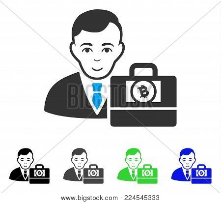 Smiling Bitcoin Cash Accounter vector pictogram. Vector illustration style is a flat iconic bitcoin cash accounter symbol with gray, black, blue, green color variants. Person face has glad sentiment.