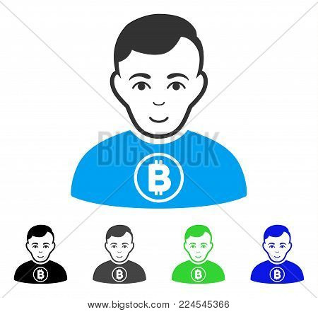 Enjoy Bitcoin Man vector icon. Vector illustration style is a flat iconic bitcoin man symbol with grey, black, blue, green color versions. Person face has joyful expression.