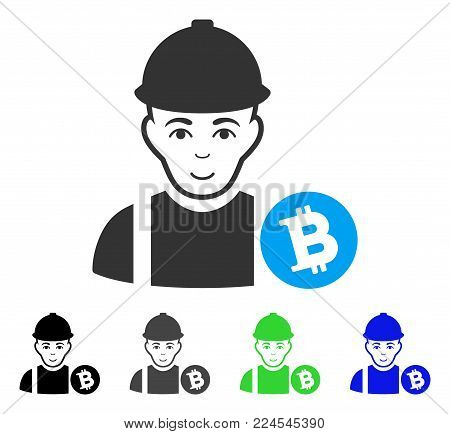 Happy Bitcoin Miner vector icon. Vector illustration style is a flat iconic bitcoin miner symbol with gray, black, blue, green color variants. Human face has positive sentiment.