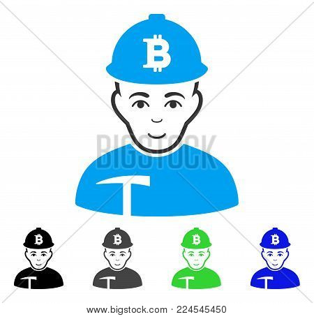 Smiling Bitcoin Miner vector icon. Vector illustration style is a flat iconic bitcoin miner symbol with grey, black, blue, green color versions. Human face has glad feeling.