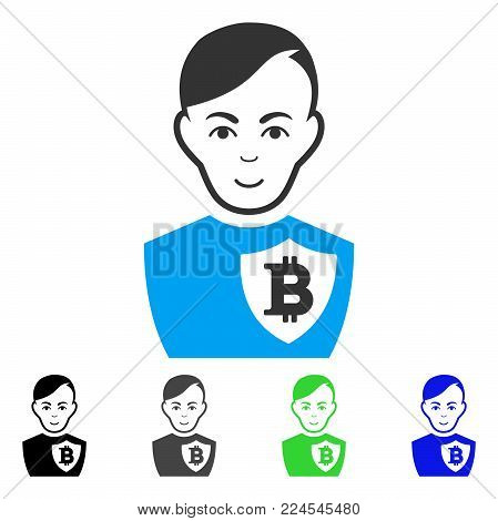 Enjoy Bitcoin Police Officer vector pictograph. Vector illustration style is a flat iconic bitcoin police officer symbol with gray, black, blue, green color variants. Person face has gladness feeling.