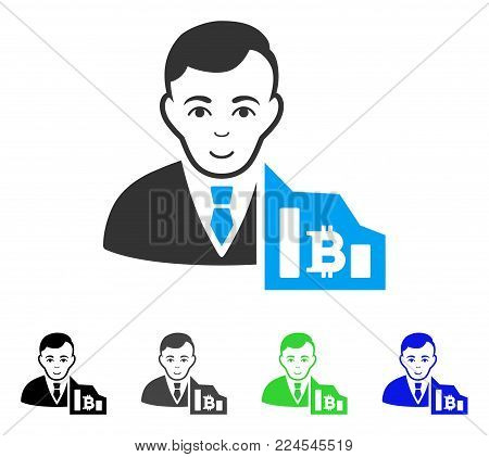 Joy Bitcoin Trader vector pictograph. Vector illustration style is a flat iconic bitcoin trader symbol with gray, black, blue, green color variants. Person face has joy expression.