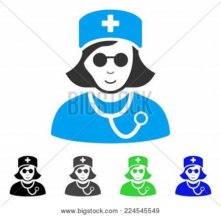 Enjoy Blind Nurse vector icon. Vector illustration style is a flat iconic blind nurse symbol with grey, black, blue, green color variants. Human face has cheerful mood.
