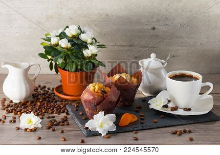 Good morning with two muffins, cup of aroma coffee, jug of cream to coffee and flowers of azalia on a gray wooden background.