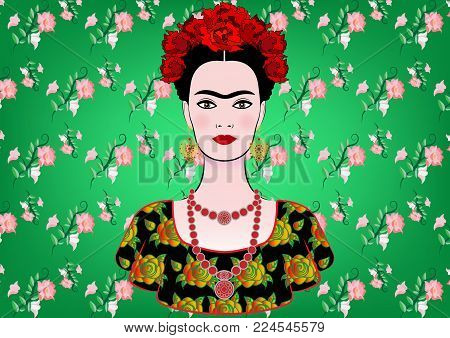 Frida Kahlo vector portrait , young beautiful mexican woman with a traditional hairstyle,  Mexican crafts jewelry and dress, vector isolated or green floral background