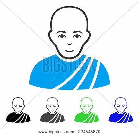 Happiness Buddhist Monk vector pictograph. Vector illustration style is a flat iconic buddhist monk symbol with gray, black, blue, green color variants. Person face has joy mood.