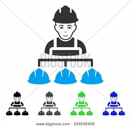 Gladness Builder Management vector pictogram. Vector illustration style is a flat iconic builder management symbol with grey, black, blue, green color versions. Human face has joy sentiment.