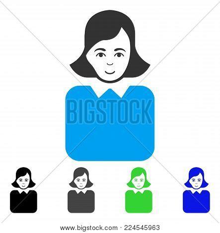 Cheerful Bureaucrat Woman vector pictograph. Vector illustration style is a flat iconic bureaucrat woman symbol with grey, black, blue, green color versions. Person face has joyful mood.