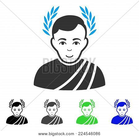 Smiling Caesar Wreath vector icon. Vector illustration style is a flat iconic caesar wreath symbol with gray, black, blue, green color versions. Human face has smiling expression.