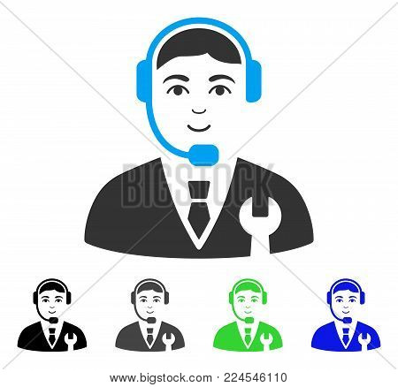 Glad Call Center Boss vector pictograph. Vector illustration style is a flat iconic call center boss symbol with grey, black, blue, green color variants. Person face has joyful emotion.