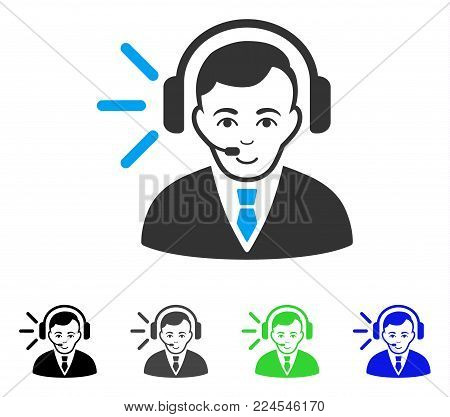 Cheerful Call Center Operator vector pictograph. Vector illustration style is a flat iconic call center operator symbol with grey, black, blue, green color variants. Human face has enjoy mood.
