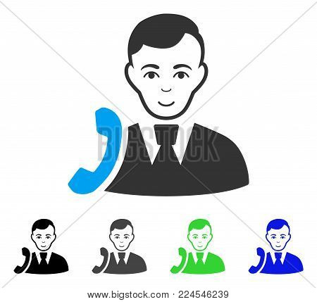 Glad Call Manager vector pictograph. Vector illustration style is a flat iconic call manager symbol with grey, black, blue, green color variants. Person face has cheerful mood.