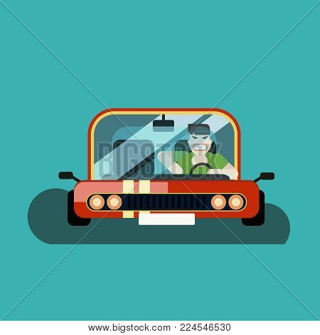 angry man driver in the car, vector banner, illustration