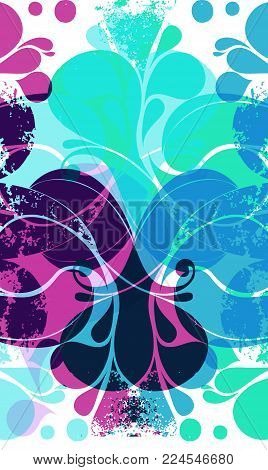 Unique Abstract Retro Pattern With Blue And Pink Various Elements.