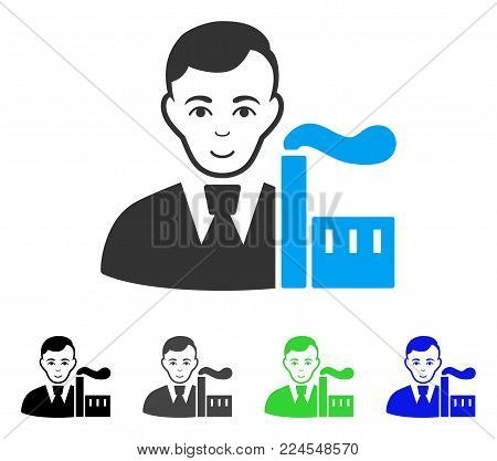 Happiness Capitalist Oligarch vector icon. Vector illustration style is a flat iconic capitalist oligarch symbol with grey, black, blue, green color variants. Person face has gladness mood.