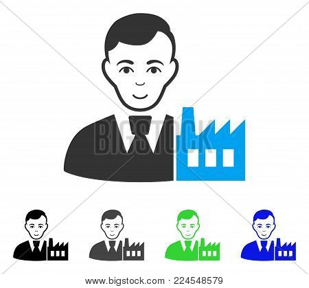 Happy Capitalist Oligarch vector icon. Vector illustration style is a flat iconic capitalist oligarch symbol with grey, black, blue, green color versions. Person face has happy emotions.