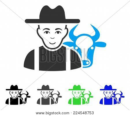 Glad Cattle Farmer vector icon. Vector illustration style is a flat iconic cattle farmer symbol with gray, black, blue, green color versions. Human face has joyful emotion.