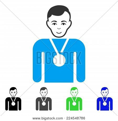 Positive Champion vector icon. Vector illustration style is a flat iconic champion symbol with gray, black, blue, green color versions. Person face has joyful emotion.