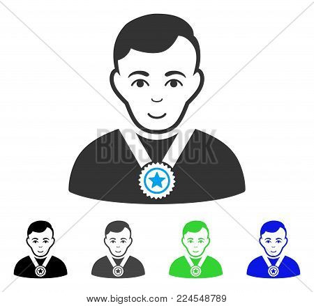 Enjoy Champion vector pictogram. Vector illustration style is a flat iconic champion symbol with grey, black, blue, green color versions. Human face has glad feeling.
