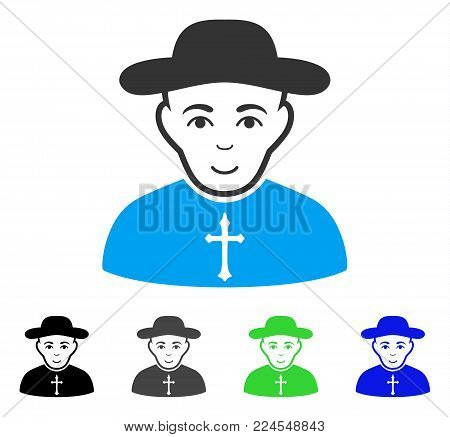 Cheerful Christian Priest vector pictogram. Vector illustration style is a flat iconic christian priest symbol with gray, black, blue, green color variants. Person face has smiling emotions.