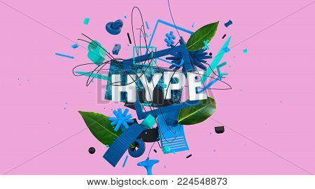 colorful card of banner with word Hype and different strange shapes and objects, high resolution 3D render