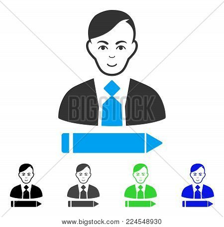 Cheerful Clerk vector pictograph. Vector illustration style is a flat iconic clerk symbol with grey, black, blue, green color versions. Person face has joy expression.