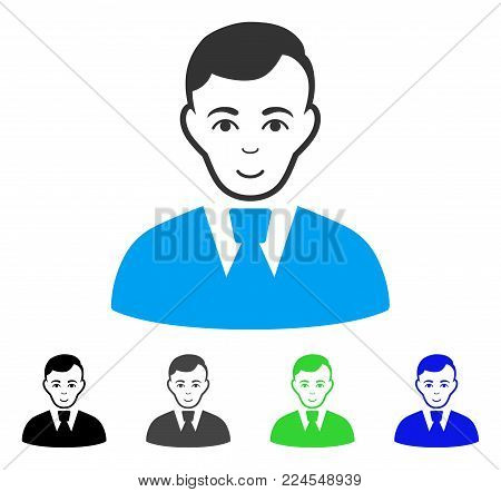 Enjoy Clerk Guy vector icon. Vector illustration style is a flat iconic clerk guy symbol with gray, black, blue, green color versions. Human face has positive feeling.