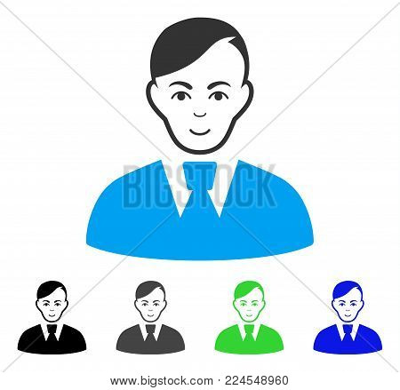 Joy Clerk vector icon. Vector illustration style is a flat iconic clerk symbol with grey, black, blue, green color variants. Human face has smiling emotions.