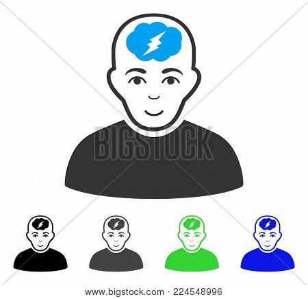 Glad Clever Boy vector pictograph. Vector illustration style is a flat iconic clever boy symbol with gray, black, blue, green color versions. Person face has gladness expression.