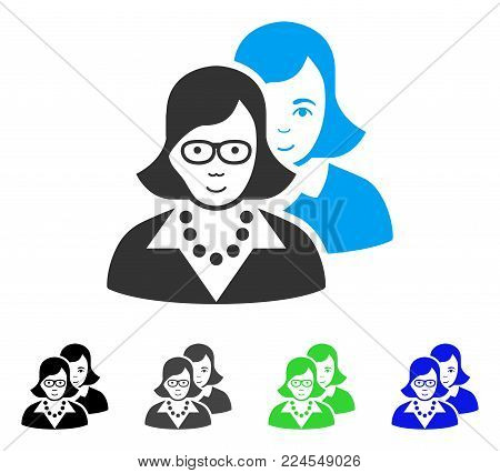Smiling Clever Women vector pictograph. Vector illustration style is a flat iconic clever women symbol with gray, black, blue, green color versions. Person face has glad sentiment.