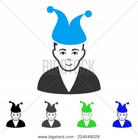 Positive Clown vector pictograph. Vector illustration style is a flat iconic clown symbol with gray, black, blue, green color versions. Person face has positive feeling.