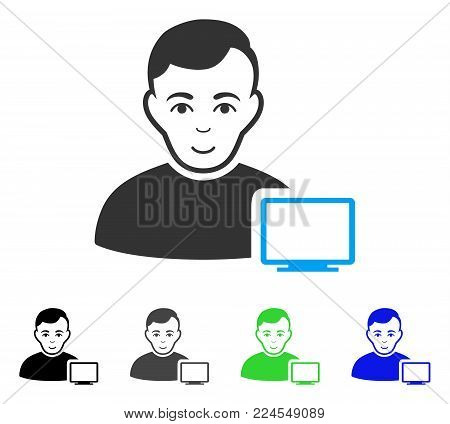 Enjoy Computer Administrator vector pictogram. Vector illustration style is a flat iconic computer administrator symbol with gray, black, blue, green color variants. Human face has glad emotions.