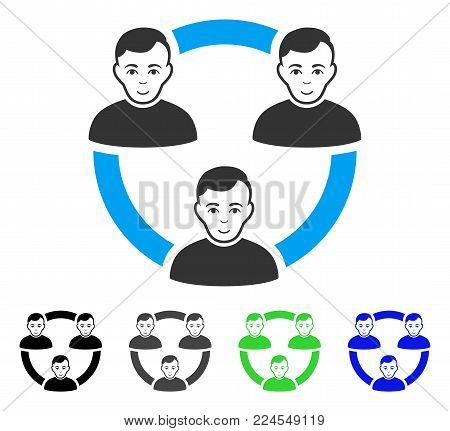 Glad Connected Social Members vector pictogram. Vector illustration style is a flat iconic connected social members symbol with grey, black, blue, green color versions.