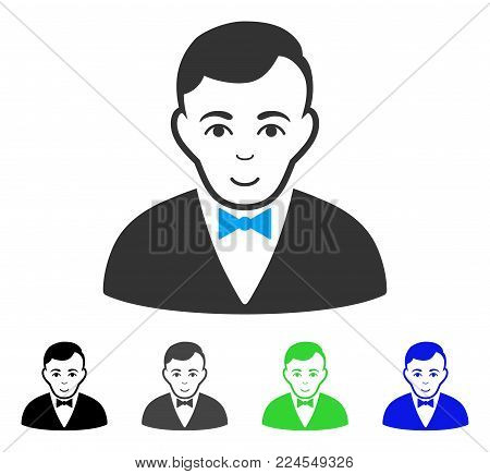 Gladness Dealer vector pictograph. Vector illustration style is a flat iconic dealer symbol with grey, black, blue, green color versions. Human face has enjoy expression.