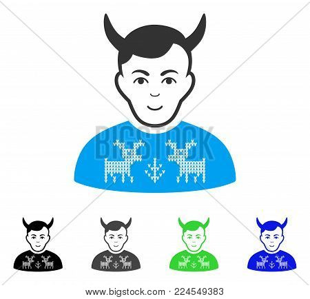 Glad Deers Pullover Horned Husband vector pictograph. Vector illustration style is a flat iconic deers pullover horned husband symbol with grey, black, blue, green color variants.