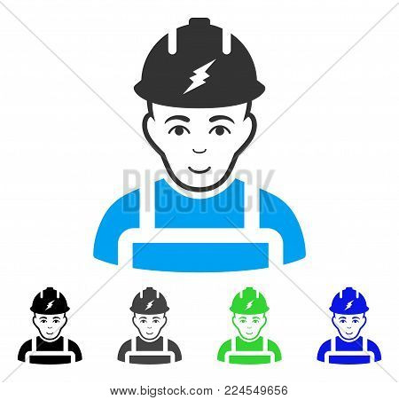 Happy Electrician vector icon. Vector illustration style is a flat iconic electrician symbol with gray, black, blue, green color versions. Person face has glad feeling.