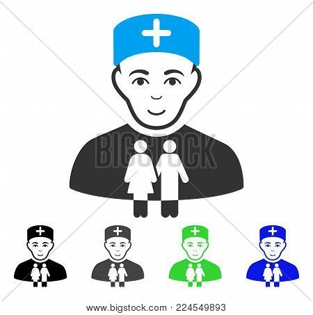 Joy Family Doctor vector icon. Vector illustration style is a flat iconic family doctor symbol with gray, black, blue, green color versions. Person face has joyful expression.
