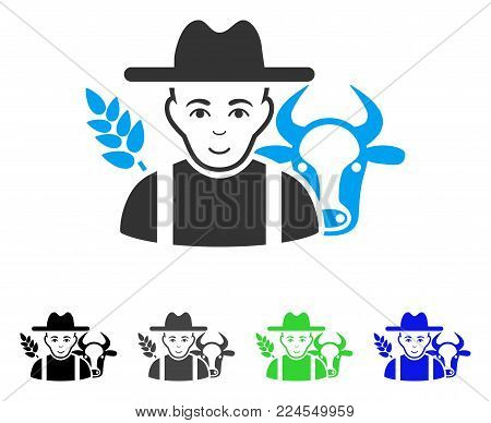 Joy Farmer vector icon. Vector illustration style is a flat iconic farmer symbol with gray, black, blue, green color variants. Human face has joy mood.