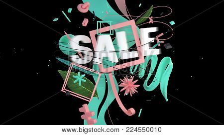 Word sale with motion effect as a part of abstract composition with strange objects and shapes, high resolution 3d render