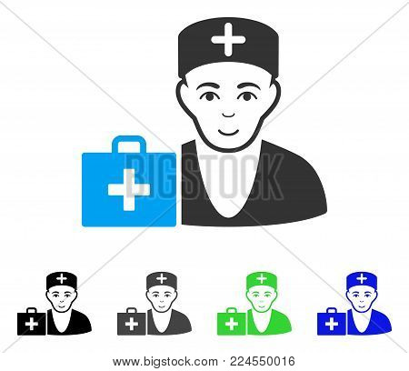 Happy First-Aid Doctor vector pictograph. Vector illustration style is a flat iconic first-aid doctor symbol with gray, black, blue, green color versions. Person face has joy mood.