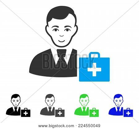 Happy First-Aid Manager vector icon. Vector illustration style is a flat iconic first-aid manager symbol with grey, black, blue, green color versions. Human face has smiling sentiment.