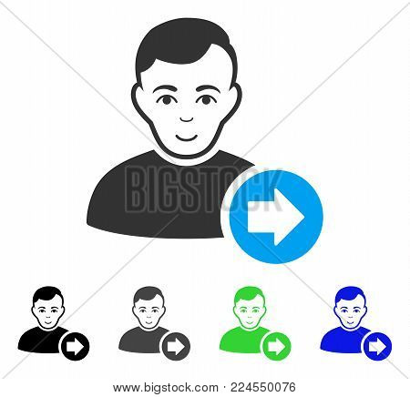 Cheerful Following User vector icon. Vector illustration style is a flat iconic following user symbol with grey, black, blue, green color variants. Person face has happy emotions.