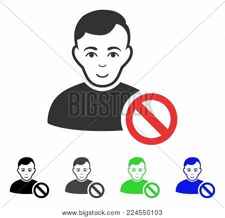 Joyful Forbidden User vector pictograph. Vector illustration style is a flat iconic forbidden user symbol with grey, black, blue, green color variants. Human face has happiness sentiment.