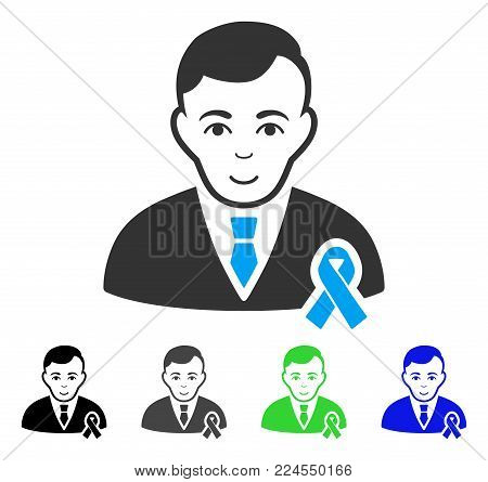 Cheerful Gentleman With Mourning Ribbon vector pictogram. Vector illustration style is a flat iconic gentleman with mourning ribbon symbol with gray, black, blue, green color variants.